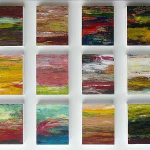 Tableau mit 12 Bildobjekten, je 16 x 20, Acryl/Zigarillobox, 2016